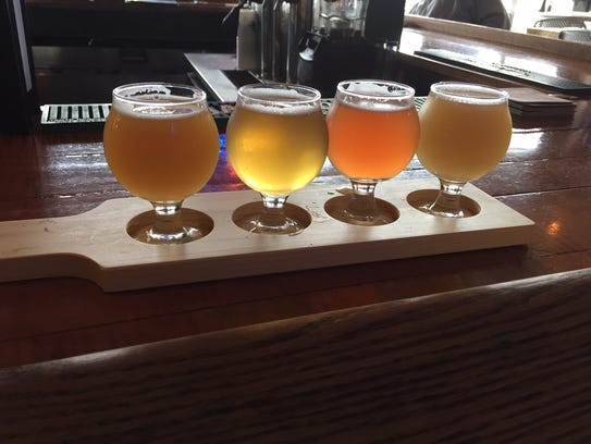 A flight of beer at Rotunda Brewing Company. Pictured