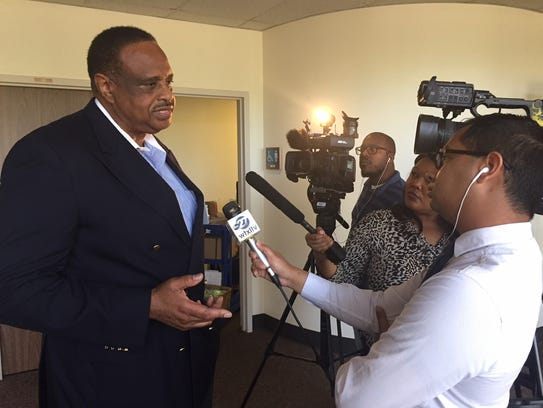 Congressman Al Lawson, D-Tallahassee, meets with reporters