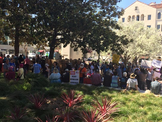 The crowds at a Pi Day protest in Palo Alto, Calif..