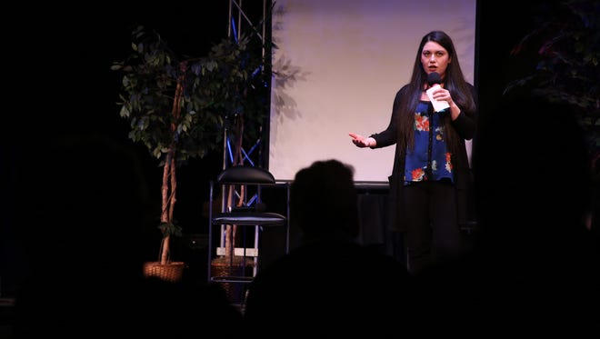 Olivia Lopez shared her love story at D&C's Storytellers Project, the first of a series on Wednesday, Feb. 8, 2017.