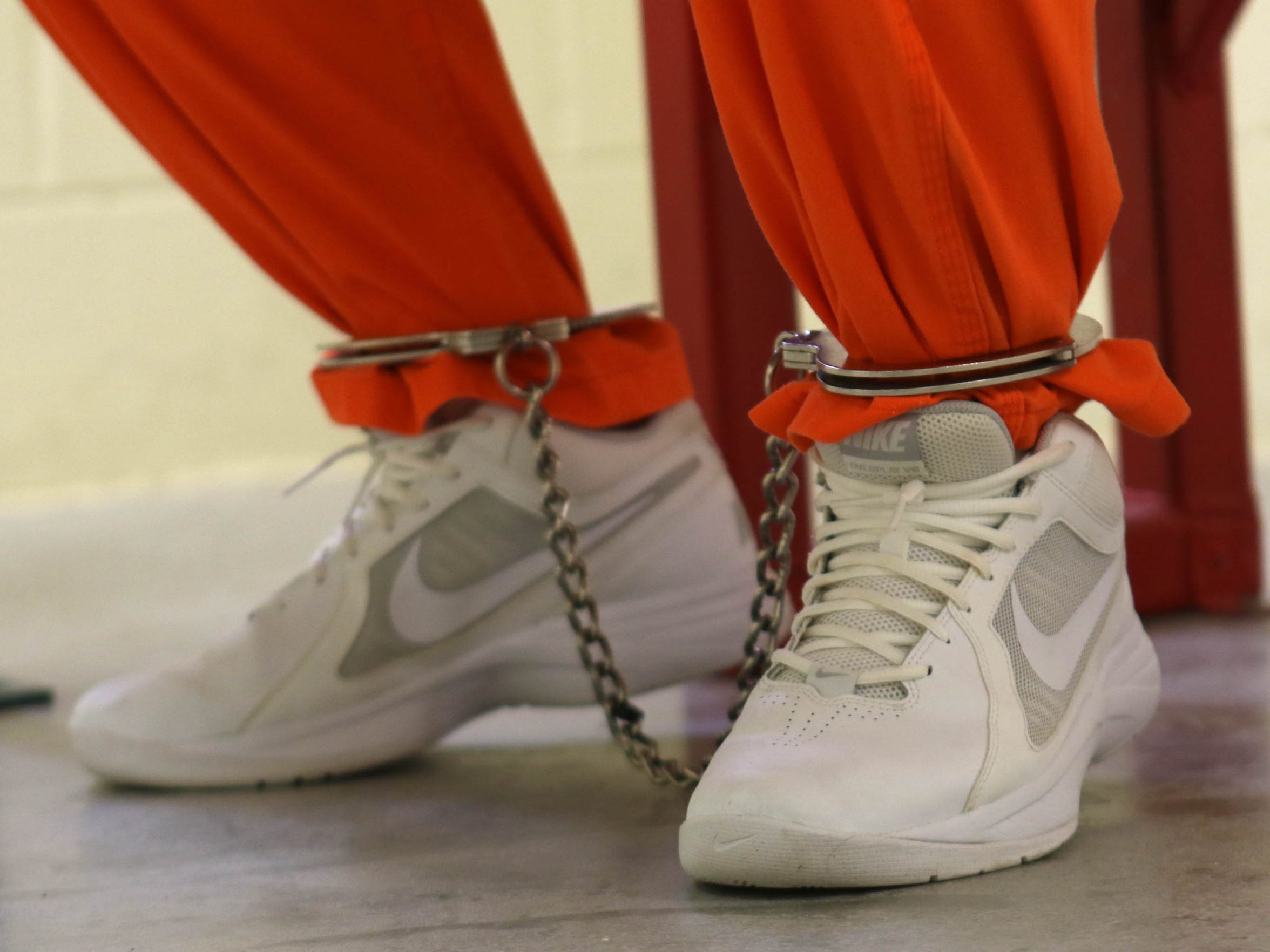 With his feet shackled, 28 year-old Justin Erskine, of Dover, who is serving a life sentence at James T. Vaughn Correctional Center, talks about living in the Security Housing Unit.