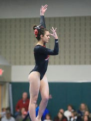 Performing her winning routine on balance beam Wednesday