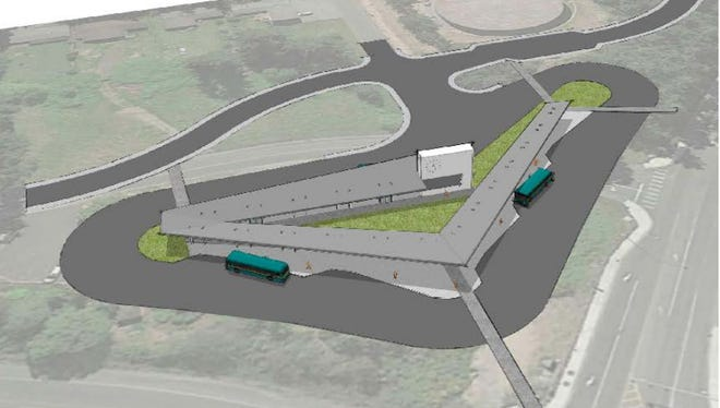 A concept design of a proposed transit center in Silverdale on Ridgetop Boulevard