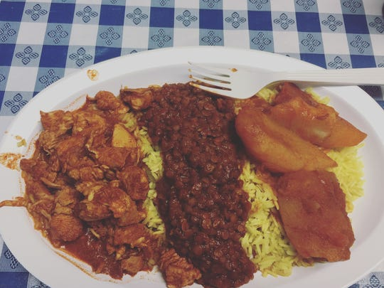 Chicken, rice, lentils and potatoes from Ajora Ethiopian