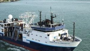 The R/V Marcus G. Langseth owned and operated by the Lamont-Doherty Earth Observatory at Columbia University is planned to be used in a seismic climate change study on the N.J. coast.