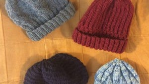 These are my first 4 hats for the homeless. Recognize any of these patterns?