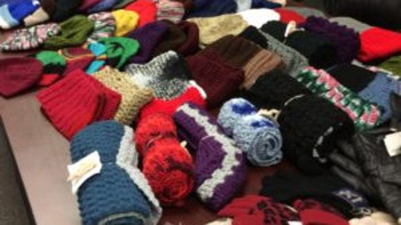This is a photo of the 63 hats and more than 20 scarves and pairs of gloves that went to the Crescent Avenue Presbyterian Church in Plainfield on Saturday for their soup kitchen. Church members also are making hats, so they said this is all they will need from us.