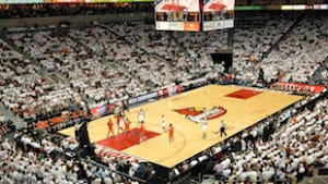 The Louisville Cardinals play the Syracuse Orange at the KFC Yum! Center earlier this month.