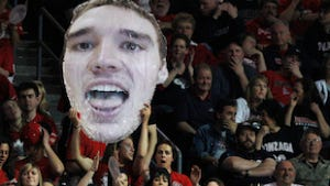 Gonzaga fans cheers their team during an NCAA college basketball game at the West Coast Conference tournament.