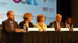 Harvard Provost Alan Garber, Harvard President Drew Faust, MIT President Susan Hockfield, MIT Provost Rafael Reif, and edX President Anant Agarwal (left to right) discuss edX during Wednesday's press conference.