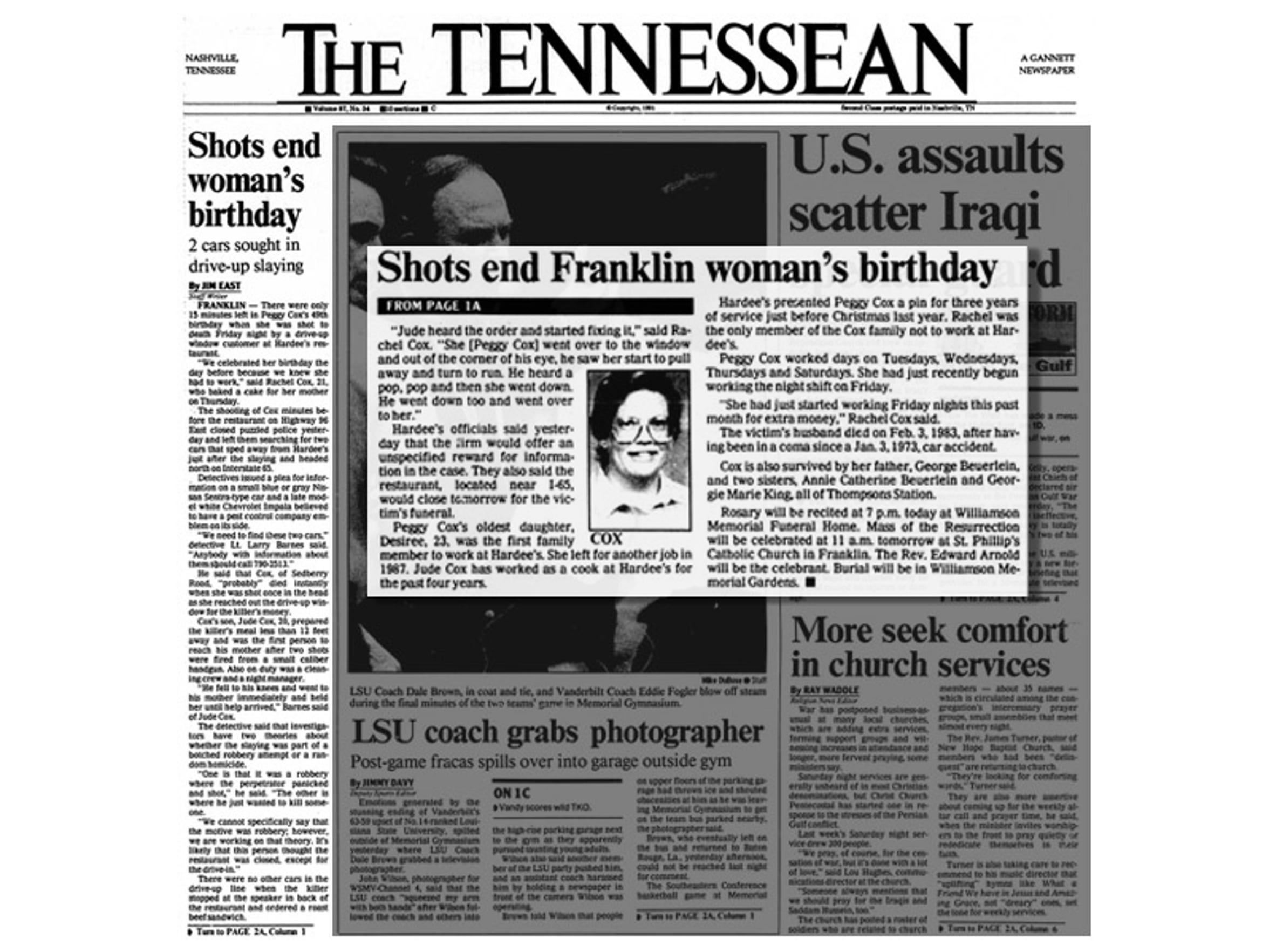 The Tennessean reports Peggy Cox's murder in an article on Feb. 3, 1991.