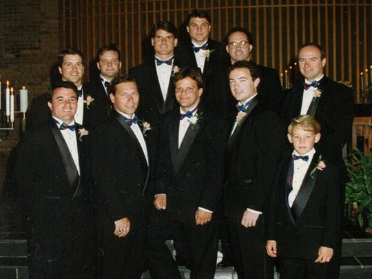 Bottom Row: ESPN analyst Fran Fraschilla, Michigan State coach Tom Izzo, Indiana coach Tom Crean, Ray Kelly, Bryan Mattison, son of current U-M football assistant Greg Mattison.  Second Row: Baltimore coach John Harbaugh, John Ivkov, U-M's Jim Harbaugh, B.C. basketball coach Jim Christian, former college coach Kevin O'Neill, ACC executive Paul Brazeau.