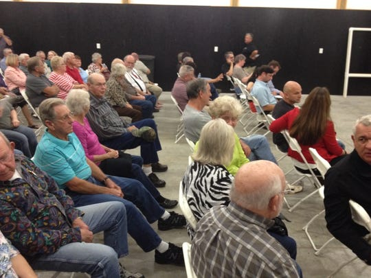 Some of the Fredonia residents who gathered Thursday to talk about their community center and park.