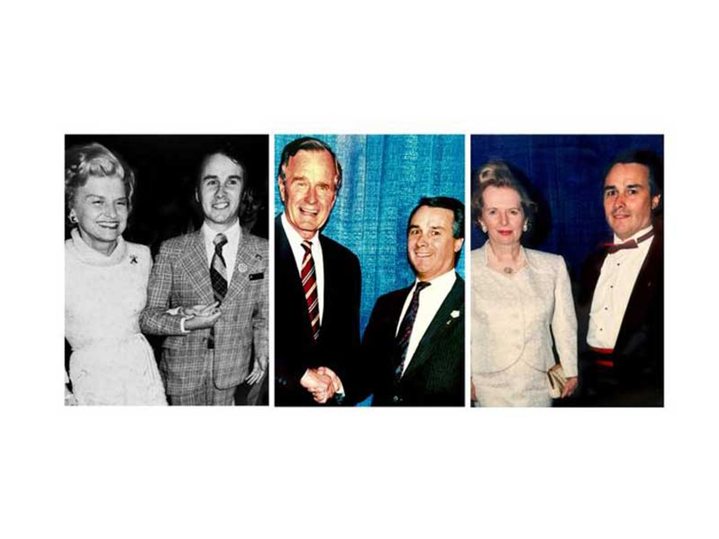 As the director for catering at the Opryland Hotel, Rudy Caduff, right in all photos, got to meet world leaders and celebrities, including former first lady Betty Ford, President George H. W. Bush and former British Prime Minister Margaret Thatcher.