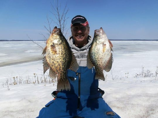 Hooksetters Guide Phil Schweik with a couple of nice crappies