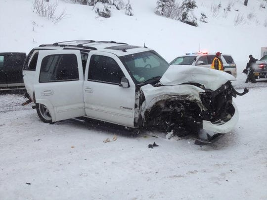 A two-vehicle crash near Santiam Junction sent six to the hospital on Dec. 25, 2015.