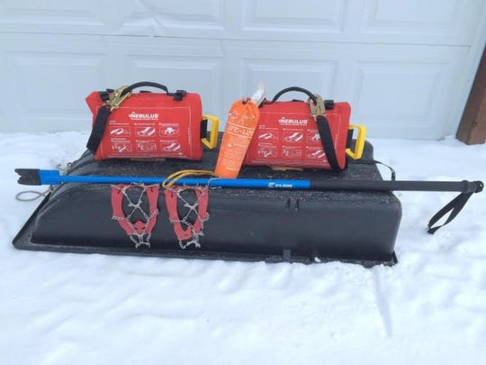 A variety of safety gear including a spud bar, ice cleats, Nebulus floatation system and emergency rescue line can help avoid tragedy on ice.