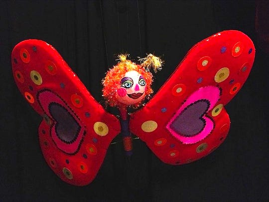 """A butterfly marionette from Peewinkle's Puppet Studio """"Valentine's Day Cabaret."""""""
