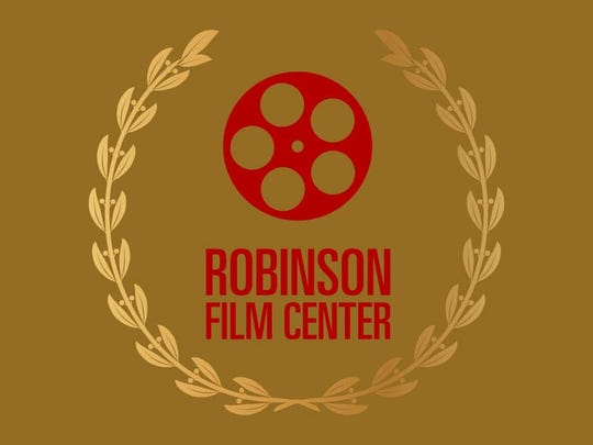 Robinson Film Center Logo on Gold background with laurel
