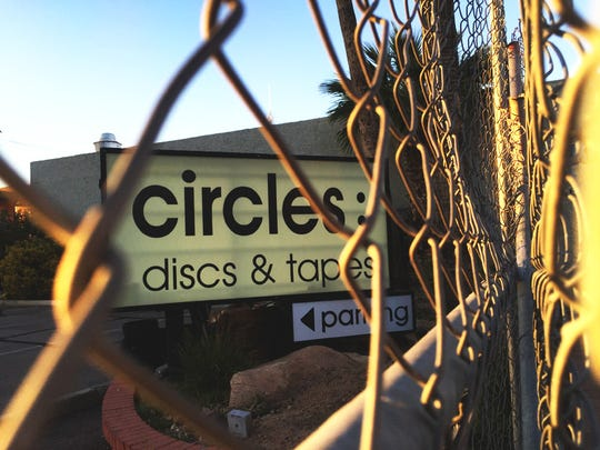 An old sign on the Circles Records and Tapes building, which has sat vacant for six years.