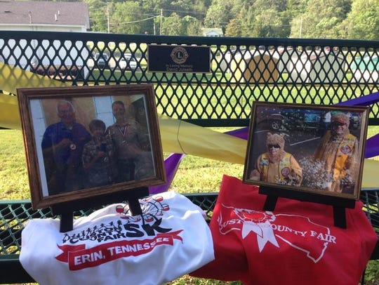 Pictures of the late David Julseth adorned a new bench.