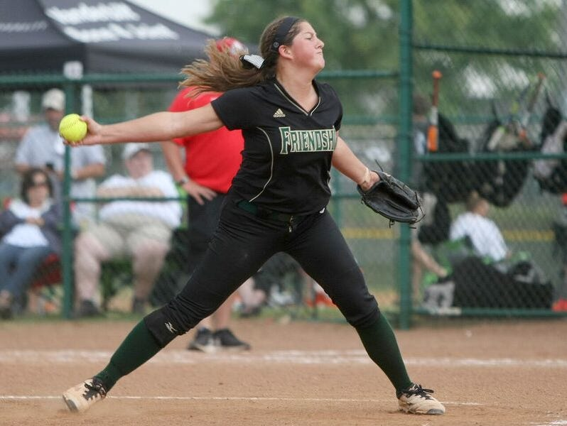 Friendship Christian pitcher Courtney Petty fires to the plate during Wednesday's win over USJ.
