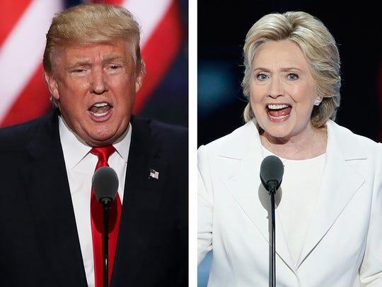 Donald Trump, left, and Hillary Clinton