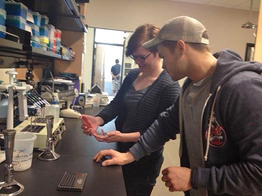 MTSU undergraduate students Kelly Saine, left, and