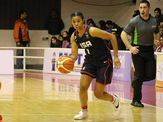Evina Westbrook, a senior at South Salem, drives during the championship game of the FIBA Americas U18 Championship.