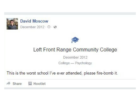 The scree capture from David Moscow's Facebook page shows one of the threats the man made toward to Fort Collins college. Moscow was sentenced to 18 months in prison.