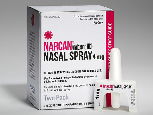 Narcan nasal spray to reverse an opioid drug overdose