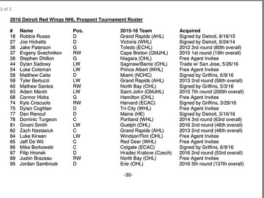 Detroit Red Wings prospects tournament roster