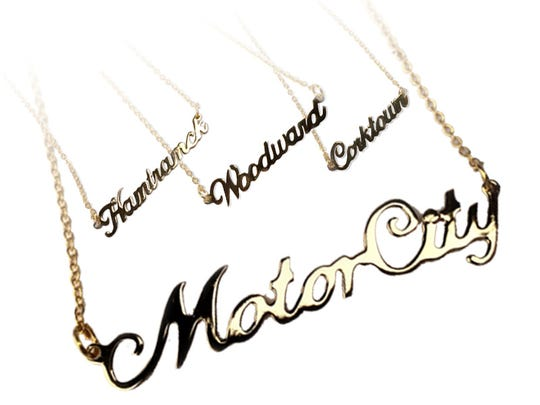 Detroit Nameplate Necklaces, $30