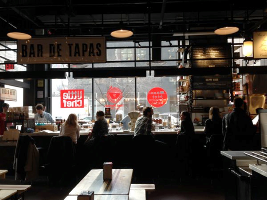 Foodies can find everything from a ramen shop to a taqueria at Gotham West Market in New York.