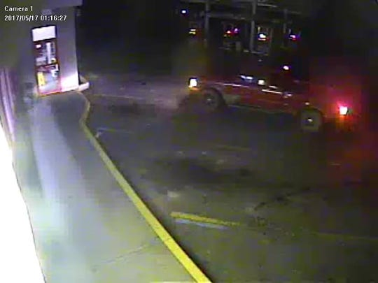 The suspect in a May 17 burglary at the Wellsburg Dandy Mini Mart drove a red pickup truck with an extended cab, according to the Chemung County Sheriff's Office.