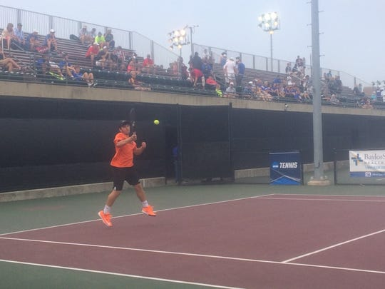 Marcus Kleckner of Burkburnett rips a forehand during his 6-2, 0-6, 6-4 Class 4A boys singles quarterfinal victory over Adam Morris of Henderson at the Mitchell Tennis Center in College Station.