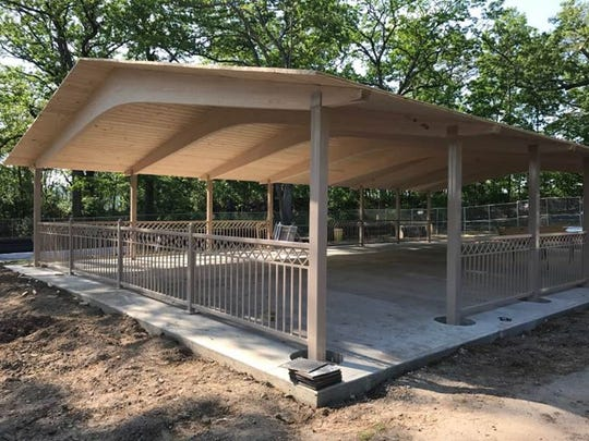 A new pavilion is being constructed in Hofstra Park.