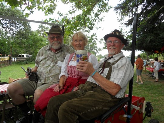 The annual Biergartenfest hosted by the Edelweiss Club meets from 4 to 9 p.m. July 1, 2017 outdoors at 8378 Churn Creek Road, Redding. Pictured left to right at the 2015 event are Ray Pippam, Inge Quest and Wally Peppel.