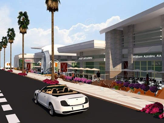 An artist's rendering for The Scene, a proposed redevelopment of the plaza on Tahquitz Canyon Way that currently contains the Regal Cinemas.
