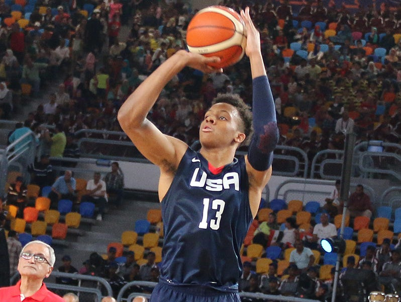 New Albany's Romeo Langford attempts a shot in Team USA's win against Iran at the FIBA World Cup in Cairo on Saturday July 2, 2017.
