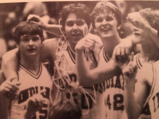 Members of the 1982 Lawrenceville High School boys' basketball team. From left to right: Darin Blair, Marty Simmons and Doug Novsek.