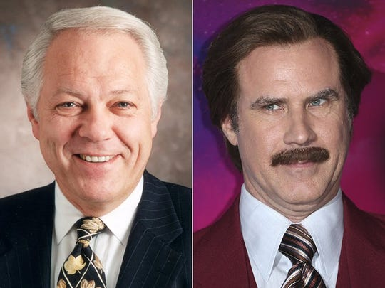 Mort Crim and the character he helped inspire, 'Anchorman's Ron Burgundy (Will Ferrell),