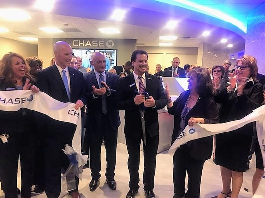 Chase Bank's Downtown El Paso branch relocation is celebrated with a Sept. 27 ribbon cutting with, from left, Liz Escobedo, Chase personal banker; Greg Fahey, Chase regional director for branches; Richard Dayoub, Greater El Paso Chamber of Commerce CEO; Raul Bustillos, Chase Downtown branch manager; and Cindy Ramos-Davidson, El Paso Hispanic Chamber of Commerce CEO.