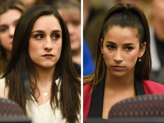 Olympic gold medalists Jordyn Wieber,left, and Aly