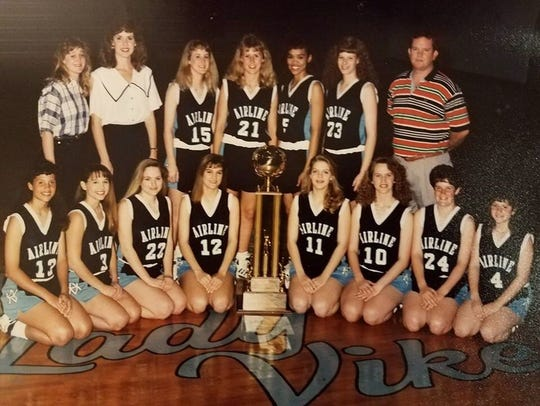 Airline's 1992 state championship girls basketball team coached by Richard Cox.
