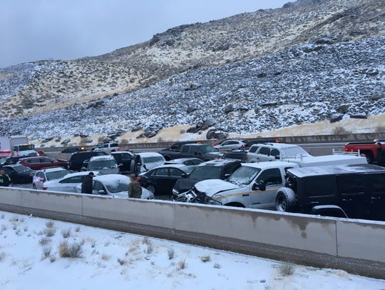 A 19-vehicle pile up blocked traffic on I-80 Thursday between Reno and Fernley.