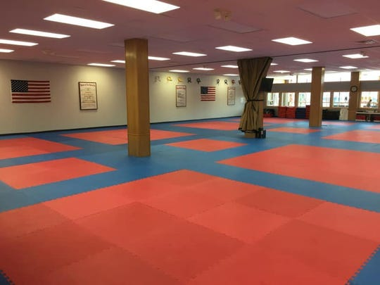 The massive mat space for classes, demos and more at Reis Martial Arts Academy which has moved into the former Book World location in downtown Marshfield.