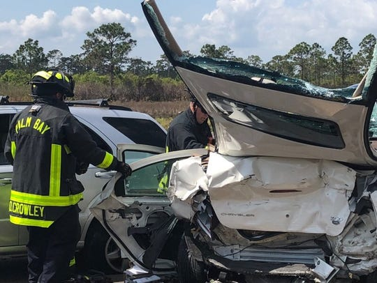 Palm Bay Fire Rescue crews respond to a crash that