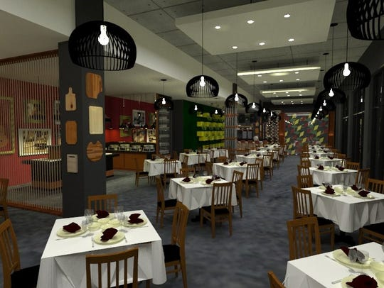BAH Brazilian Steakhouse opens Wednesday on Ingersoll Avenue in Des Moines. Pictured is a conceptual drawing of the dining room.
