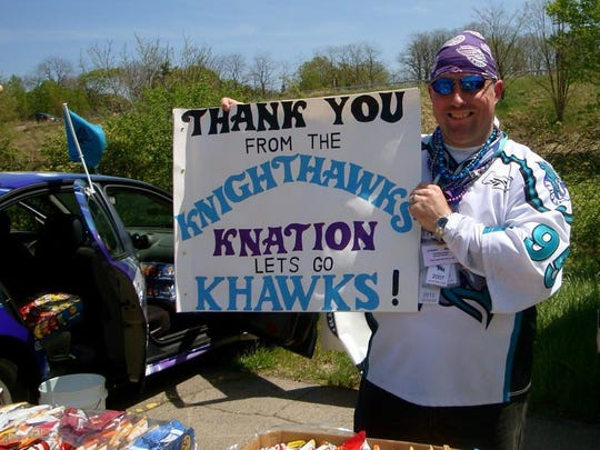 "Brockport's Tim Knab started the ""Knighthawks Krew"""